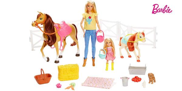 Playset Barbie & Chelsea Hugs'N'Horses con caballos y accesorios (Mattel FXH15) chollazo en Amazon