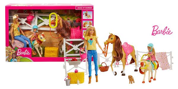 Playset Barbie & Chelsea Hugs'N'Horses con caballos y accesorios (Mattel FXH15) barato en Amazon
