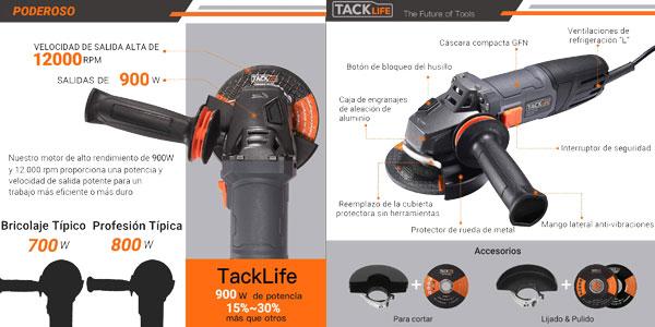 Amoladora Angular TACKLIFE de 900W y 12.000 rpm chollazo en Amazon