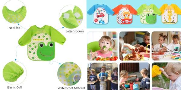 Pack x4 Baberos impermeables Vicloon con mangas para bebé chollazo en Amazon