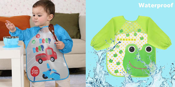 Pack x4 Baberos impermeables Vicloon con mangas para bebé chollo en Amazon