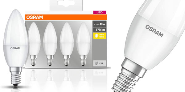 Bombillas LED vela E14 Osram baratas en Amazon