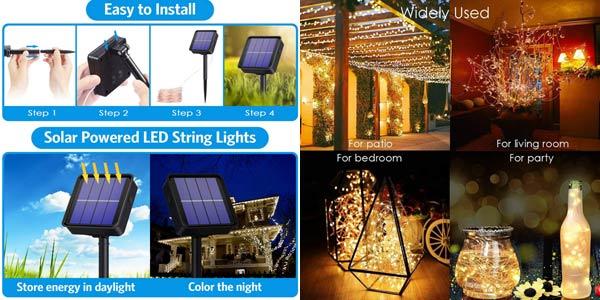 Guirnalda de luces LED Solar para exterior chollo en AliExpress
