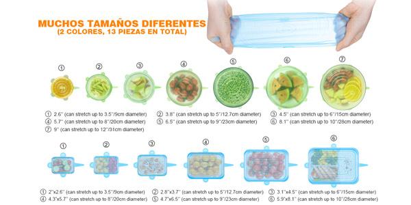 Pack x13 tapas de silicona elásticas Modohe chollazo en Amazon