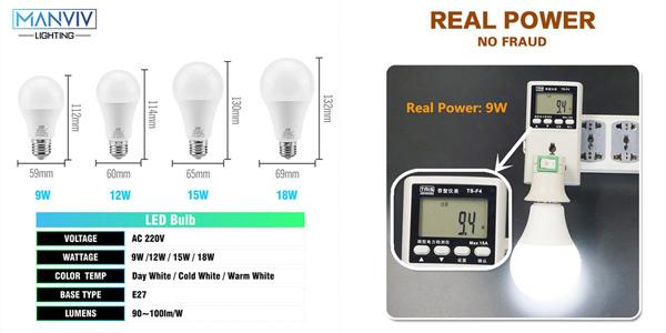 Pack x6 bombillas LED E27 chollo en AliExpress