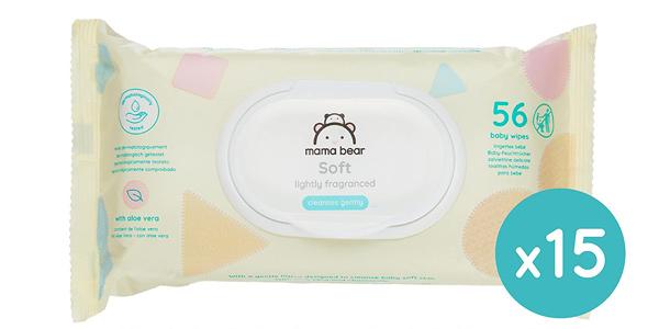 Pack x840 Toallitas húmedas Mama Bear Soft para bebé chollazo en Amazon