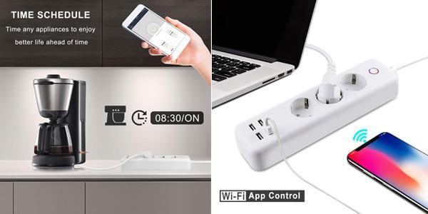 Regleta inteligente 3 enchufes + 4 USB Control remoto Alexa, FTTT, Google barata en Amazon