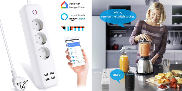 Regleta inteligente 3 enchufes + 4 USB Control remoto Alexa, FTTT, Google chollo en Amazon