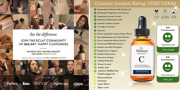 Sérum Facial BIO Florence con Ácido Hialuronico Puro + Vitaminas C y E de 60 ml chollo en Amazon