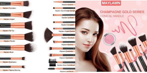 Set de 18 brochas de maquillaje en oferta en Amazon