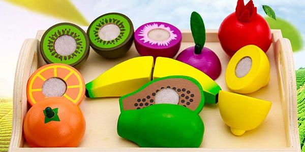 Set infantil de frutas y verduras de madera barato