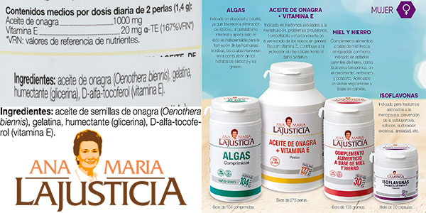 Complemento alimenticio Ana Maria Lajusticia de Aceite de Onagra + Vitamina E (275 perlas) barato