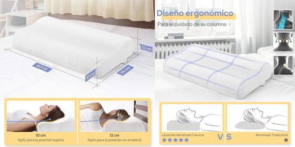 Almohada Cervical viscoelástica Levesolls con funda lavable chollazo en Amazon