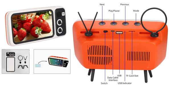 Altavoz Bluetooth Bewinner PTH-800 con forma de TV Retro chollo en Amazon