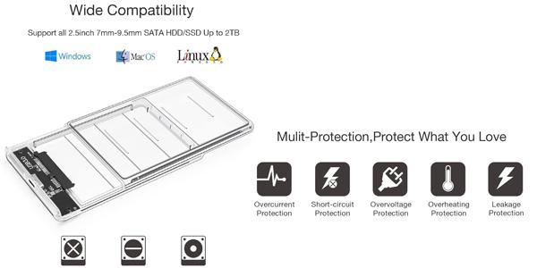 """Carcasa externa Posugear disco duro 2.5"""" USB 3.0 chollo en Amazon"""