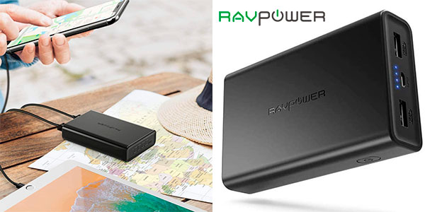 Chollo Batería externa RAVPOWER 2020 de 10.000 mAh con 2 puertos USB
