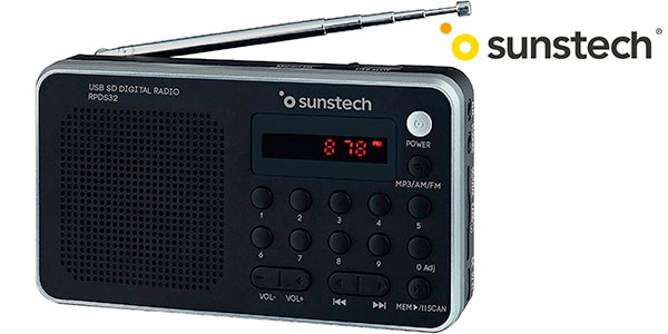 Chollo Radio portátil digital Sunstech RPDS32SL con USB y lector de tarjetas