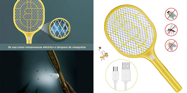 Chollo Raqueta matamoscas eléctrica Anpro con Luz y carga USB