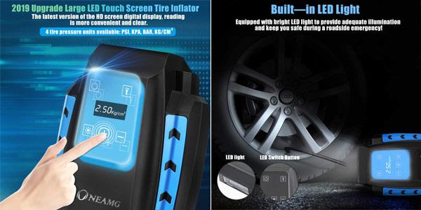 Compresor de Aire Eléctrico Portátil OneAmg de 12 V con luces LED chollo en Amazon