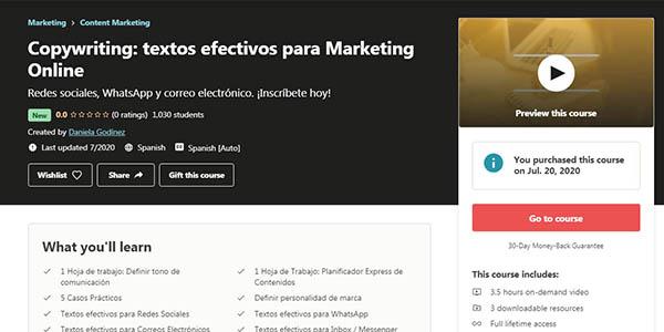curso copywriting de marketing efectivo gratis en Udemy
