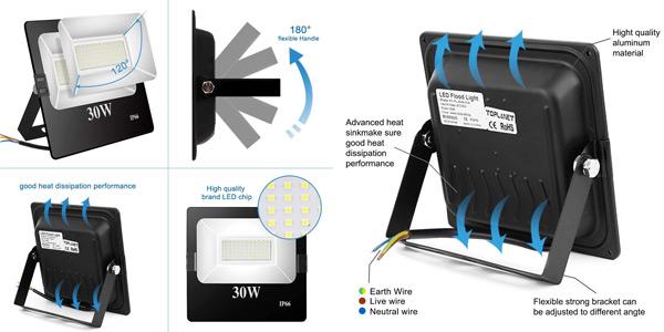 Foco LED para exterior TopPlanet de 30W IP66 chollo en Amazon