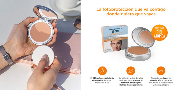 Protector Solar Facial ISDIN Compact SPF 50+ Bronce de 10 gr chollazo en Amazon