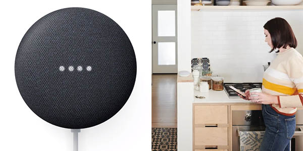 Altavoz inteligente Google Nest Mini en tiza o carbón