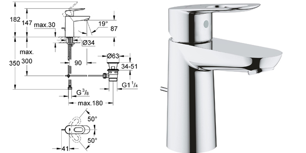 Grifo de lavabo Grohe StartLoop con acabado cromado barato en Amazon