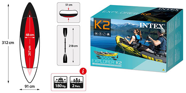 Intex Kayak hinchable Explorer K2 para 2 personas barato