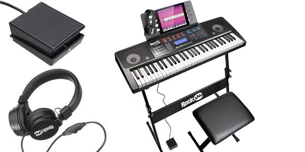 Kit Piano de aprendizaje RockJam RJ761 SK con teclado digital, soporte, asiento, auriculares y app barato en Amazon