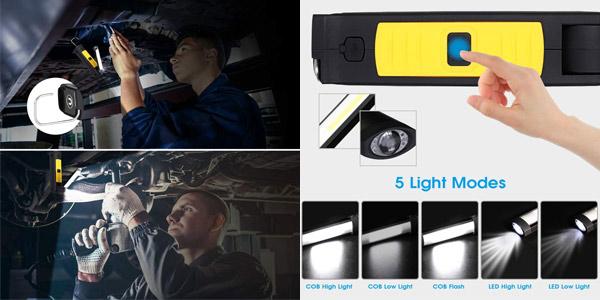 Lámpara LED de Trabajo Haofy con gancho giratorio y base magnética chollo en Amazon