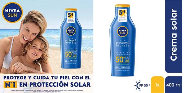 Leche Solar Nivea Sun Protege & Hidrata FP50+ de 400 ml barata en Amazon