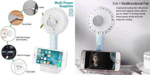 Mini Ventilador de Mano Portátil de 2000mAh con luces LED chollo en Amazon