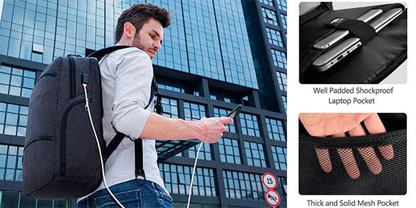 """Mochila SLOTRA para portátil de 17"""" con puerto de carga USB barata"""
