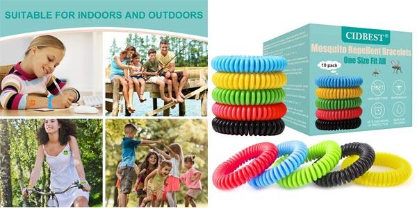 Pack x10 pulseras antimosquitos repelentes resistentes al agua + 12 adhesivos repelentes barato en Amazon