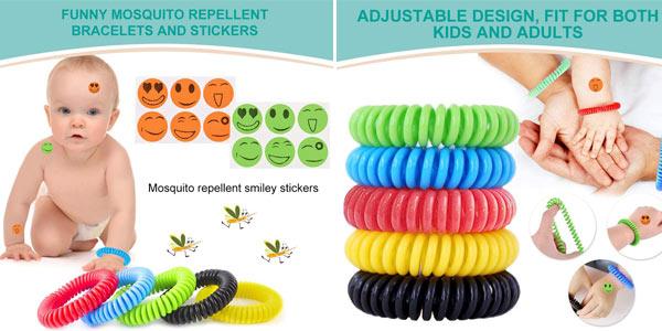 Pack x10 pulseras antimosquitos repelentes resistentes al agua + 12 adhesivos repelentes chollo en Amazon
