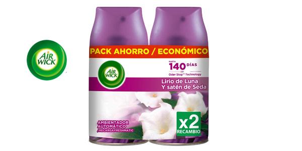 Pack x 2 Air Wick Ambientador Freshmatic Duplo Lirio de Luna y Satén de Seda de 250 ml barato en Amazon