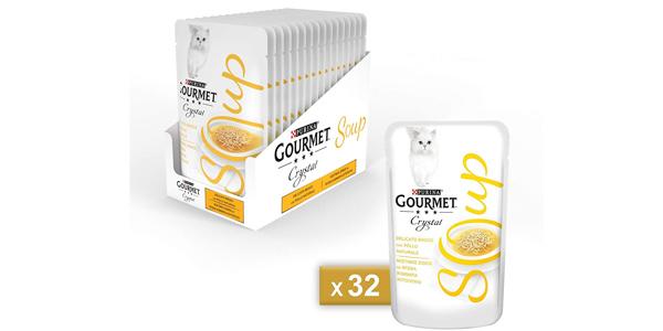 Pack x32 Sobres Purina Gourmet Crystal Soup de 40 gr/ud barato en Amazon