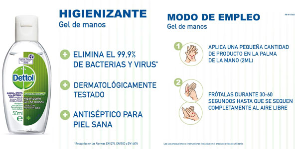 Pack x6 Dettol Gel hidroalcohólico higienizante de manos de 50 ml chollo en Amazon