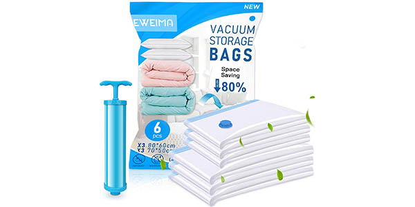 Pack x6 Bolsas de vacío EWEIMA para ropa + bomba de mano