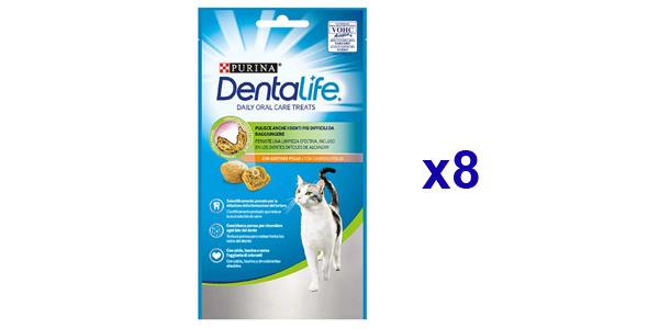 Pack x8 Snack Dental Purina DentaLife sabor Pollo para gatos de 40 gr/ud barato en Amazon