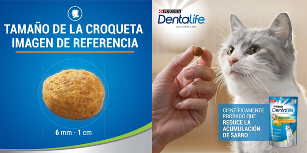 Pack x8 Snack Dental Purina DentaLife sabor Pollo para gatos de 40 gr/ud chollo en Amazon