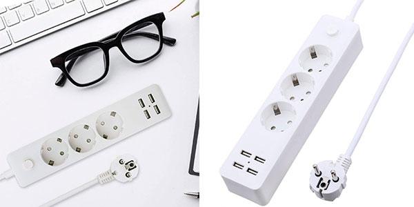 Chollo Regleta Glisteny de 3 enchufes y 4 USB de carga rápida