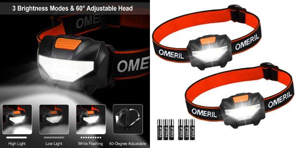 Pack x2 Linternas Frontales LED Omeril barato en Amazon