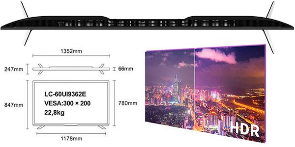 """Smart TV Sharp LC-60UI9362E UHD 4K HDR de 60"""" en oferta"""