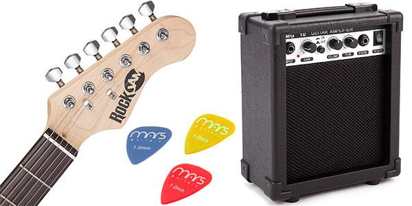 Superkit RockJam de guitarra eléctrica con amplificador barato