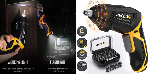 Atornillador destronillador sin cables Jellas de 3,6 V, con luz LED y 40 accesorios barato en Amazon