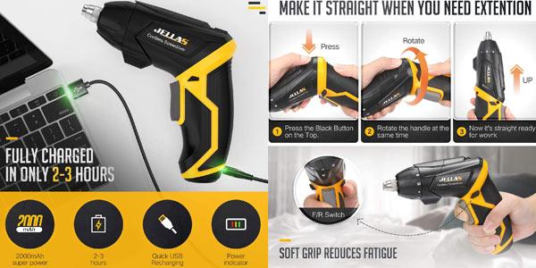 Atornillador destronillador sin cables Jellas de 3,6 V, con luz LED y 40 accesorios chollo en Amazon