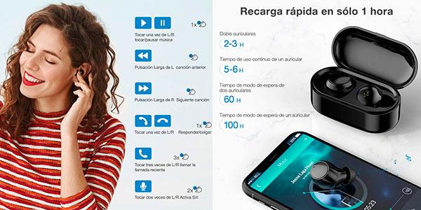 Auriculares Poweradd Bluetooth 5.0 con estuche de carga baratos