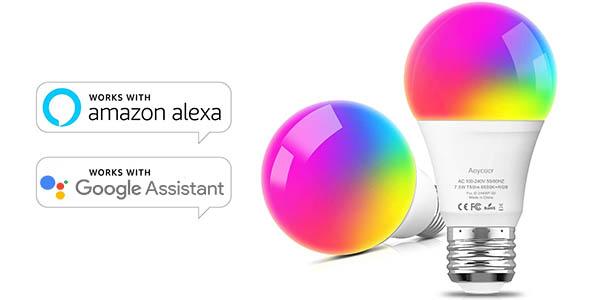 Pack x2 bombillas LED inteligente WiFi E27 multicolor Aoycocr